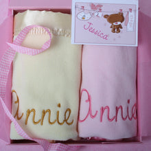 Pram blanket set with baby's name