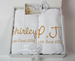 Wedding bath towel set