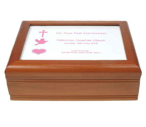 Holy Communion Jewellery Box with Custom Name, Date and Message
