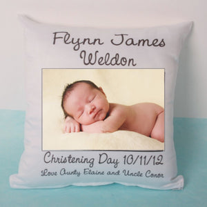 Satin Pillow with Baby Photo and Personal Message