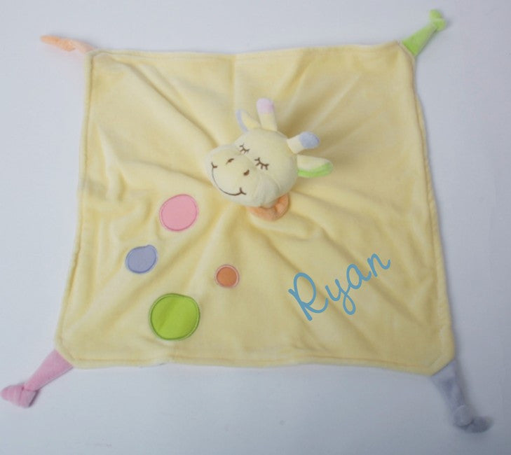 Giraffe Baby Comforted in Lemon with Baby's Name embroidered on it. Perfect baby gift.