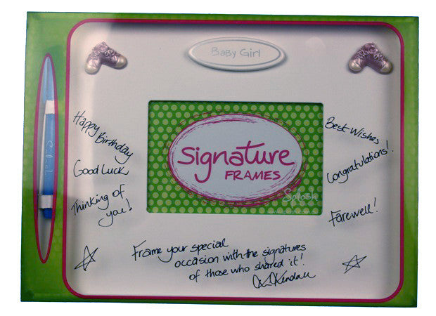 Baby girl signature frame