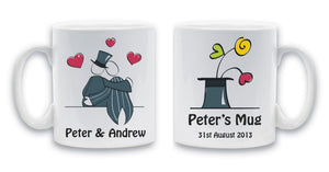 Gay wedding mug set