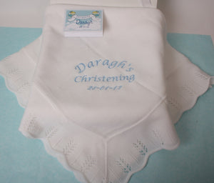 Personalised White Christening Shawl