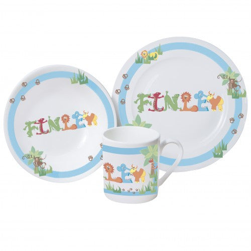 Animal Name breakfast set blue