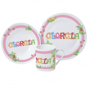 Animal name breakfast set pink