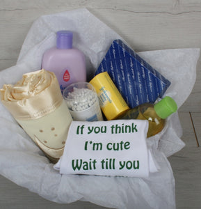 Baby shower hamper with personal touch