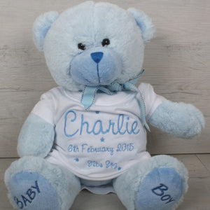 My first teddy bear with custom t-shirt printed with baby's name, date of birth and weight.