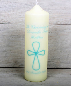 blue cross Christening candle