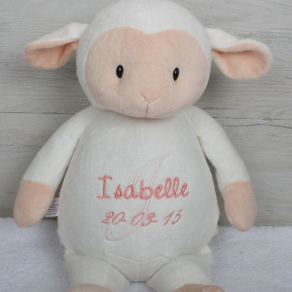 Personalised lamb teddy bear with message on the tummy