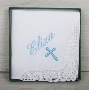 Cross and name cotton handkerchief
