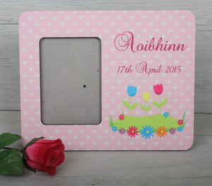 Personalised pink hearts picture frame