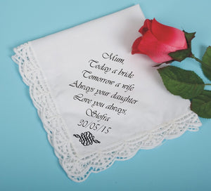 Lace edged cotton printed handkerchief