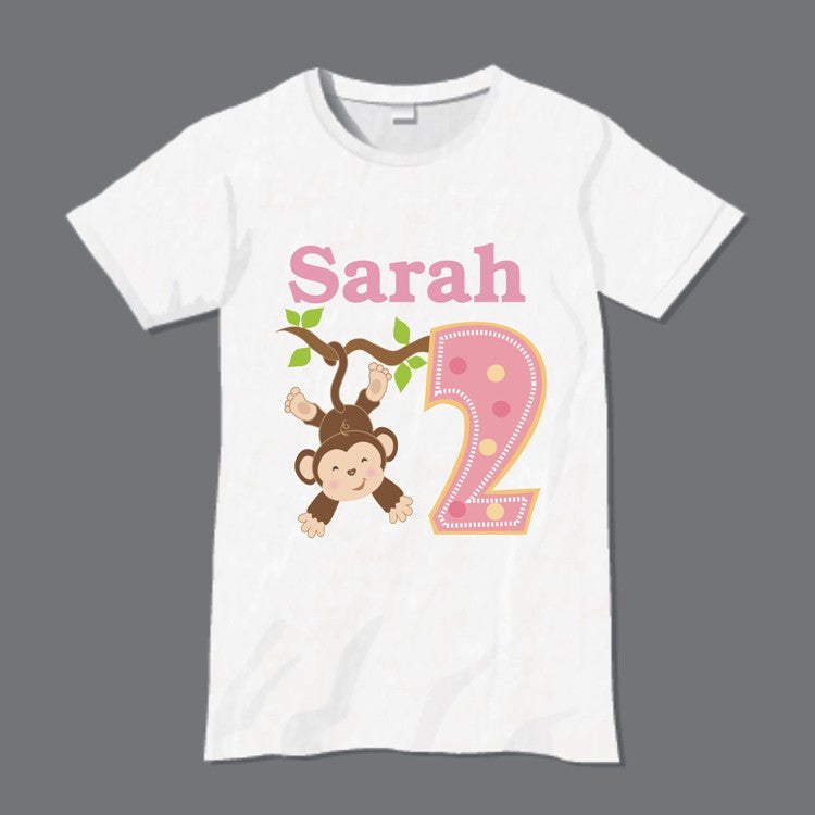 Personalised Monkey T-Shirt Pink