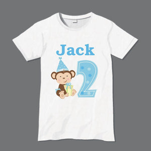 Personalised Monkey T-Shirt Blue