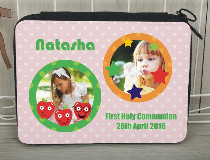Personalised photo pencil case pink