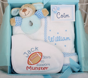 Personalised Gift Set for New Baby in Blue