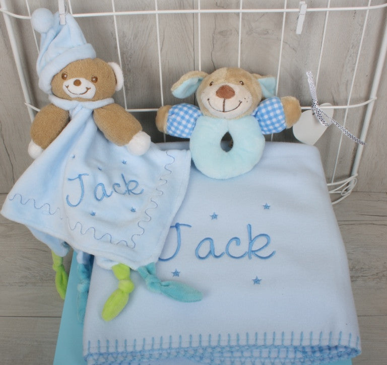 Sparks Personalised Baby Gift Set Blue