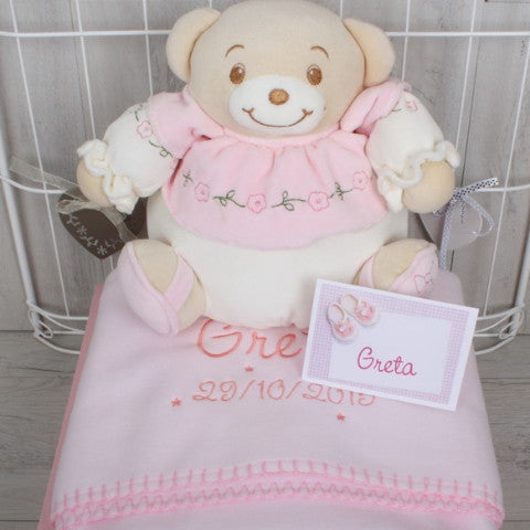 Baby Blanket with embroidered name and date of birth as well as teddy