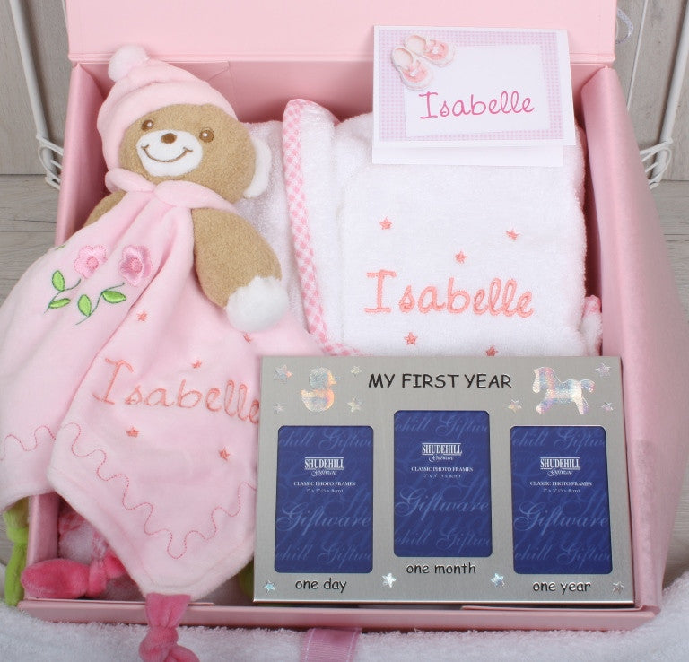 Personalised Gift Set for New Baby in Pink