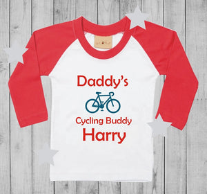 Daddy's cycling buddy  t-shirt boy long sleeves
