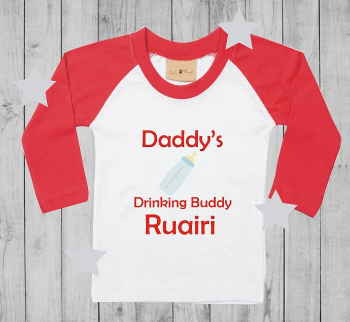 Daddy's drinking buddy  t-shirt boy long sleeves