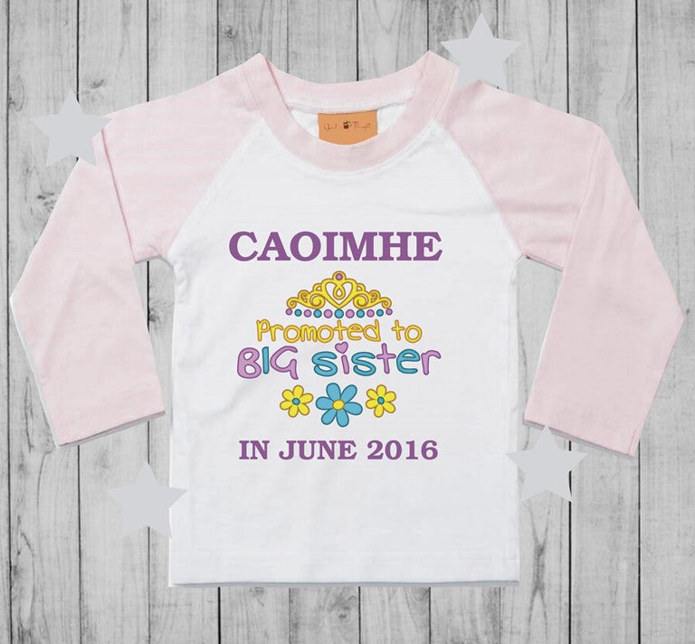 Promoted to big sister t-shirt girl long sleeves