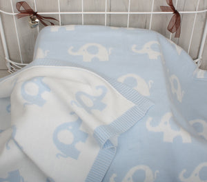 Cotton Elephant Print Baby Blanket Blue