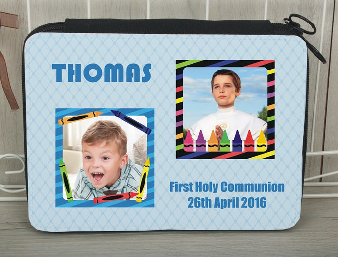 Personalised photo pencil case blue