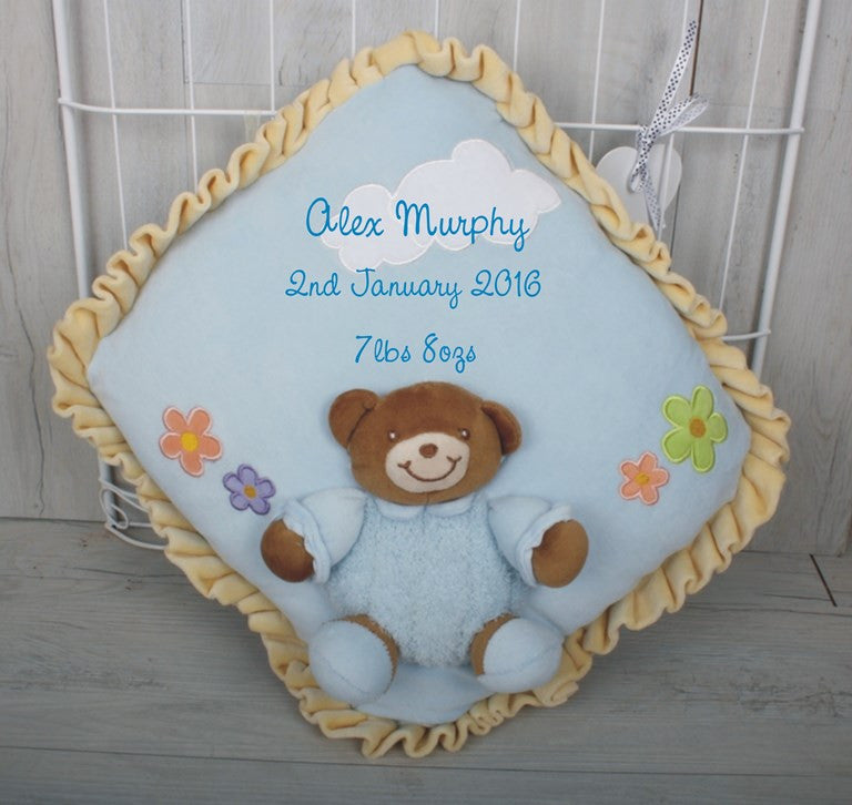 Bear Baby Cushion Blue