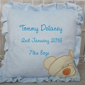 Classic Blue Bear Cushion with Baby's Name Embroidered