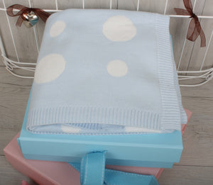 Polka Dot Design Baby Blanket in Blue