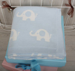 Cotton Elephant Print Baby Blanket Blue ***OUT OF STOCK***