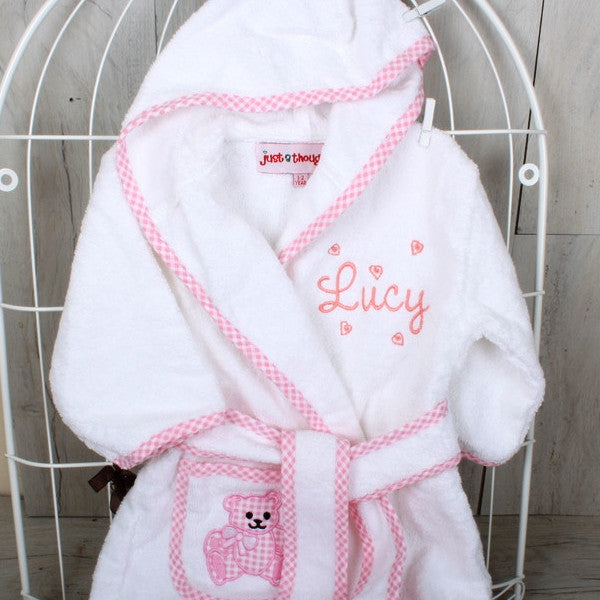 Personalised Baby Bathrobe with Gingham Detail Pink