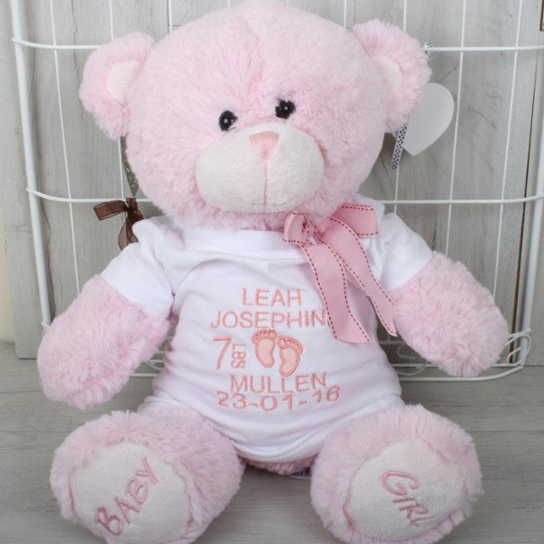 My first teddy bear with custom t-shirt printed with baby's name, date of birth and weight in pink