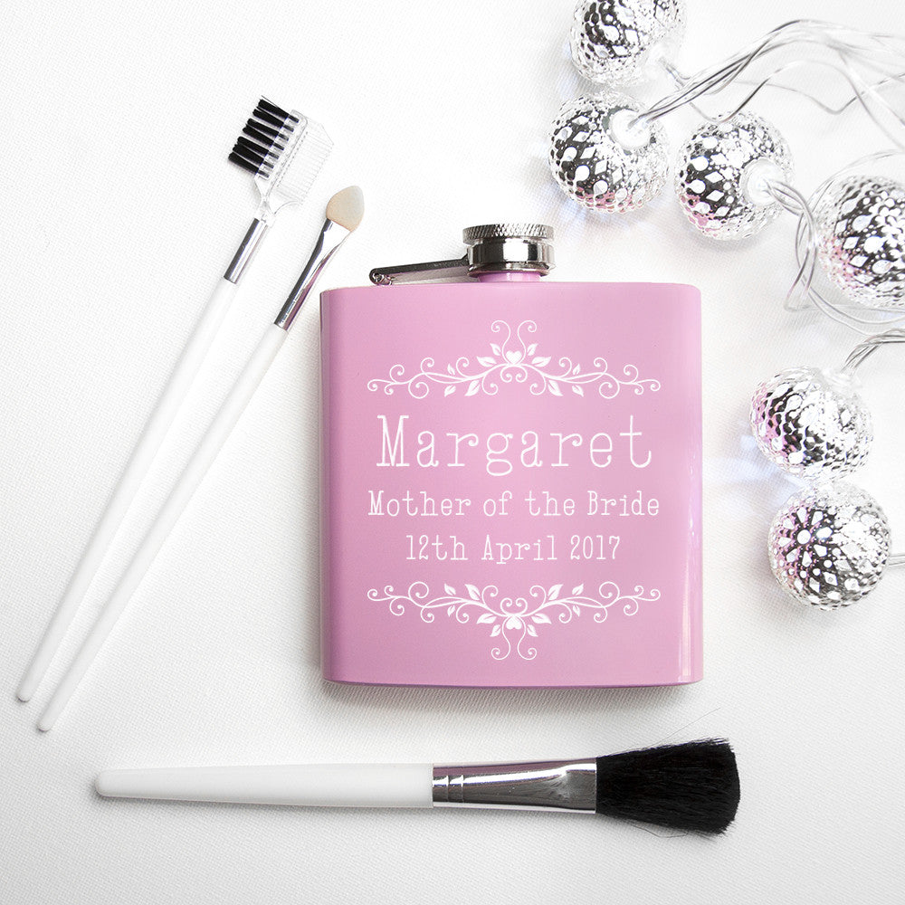 Floral Personalised Bridal Party Hip Flask