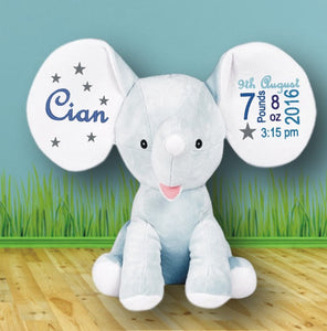 Elephant Teddy Bear with Personal Christening Details