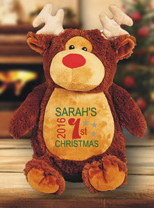 First christmas with rudolf teddy bear with child's name embroidered on the tummy.