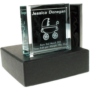 Jade Glass Block with pram and personal message
