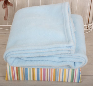 Soft Fleece Christening Blanket with Baby's Name - Blue