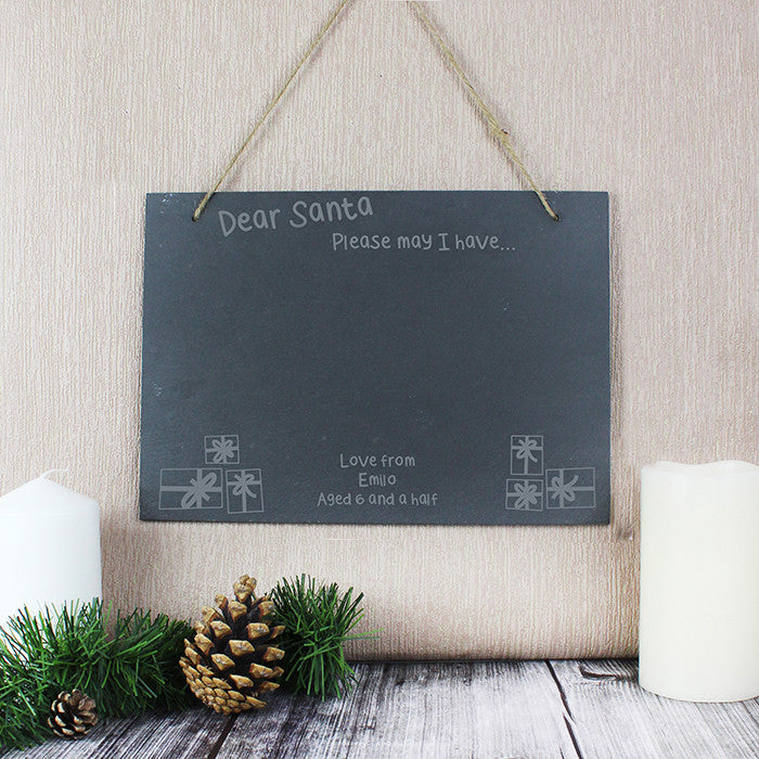 Christmas Wish List Hanging Slate Sign