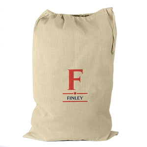 Boys Initial Cotton Sack