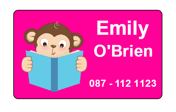 Pink book monkey label