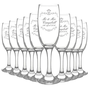Wedding flutes- Box of 10 Toasting Glasses