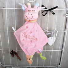Giraffe Baby Comforter in Pink with Baby's Name embroidered on it. Perfect baby gift.