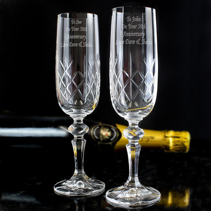 Pair of cut crystal champagne flutes