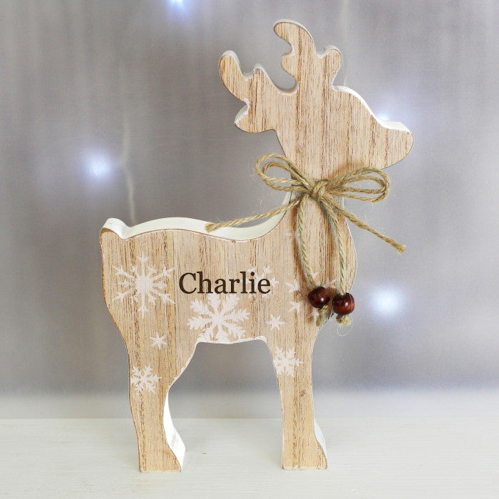 Rustic Wooden Reindeer Decoration