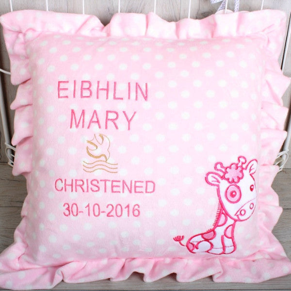 Giraffe Motif Pink Cushion with Personal Message