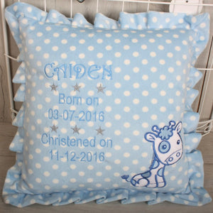 Giraffe Motif Blue Cushion with Personal Message