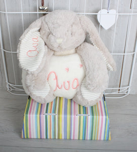 Personalised Bunny Teddy and Blanket with Baby's Name